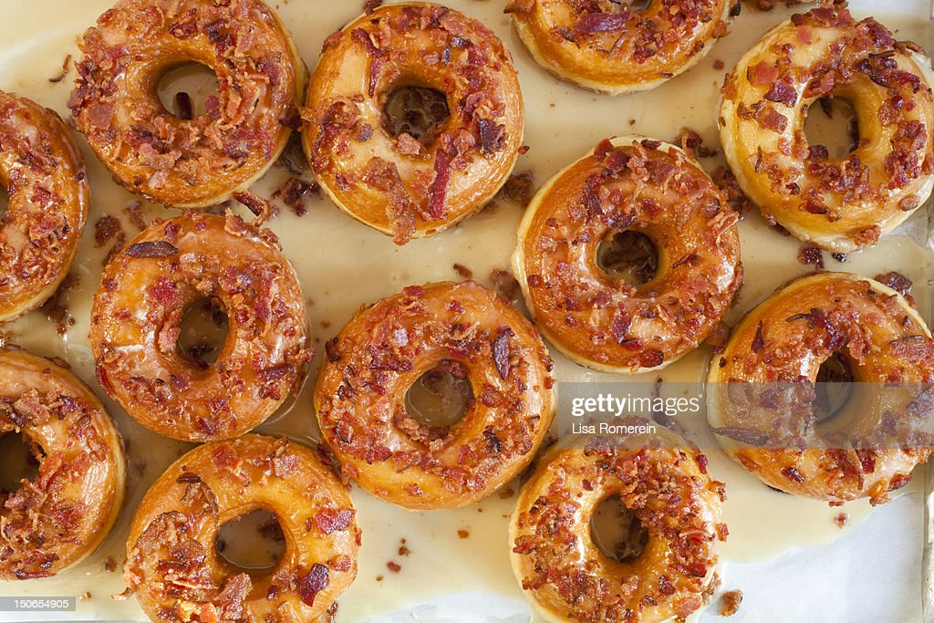 Multiple maple glazed bacon donuts