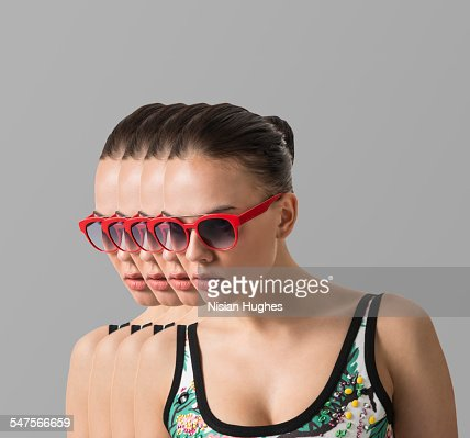Multiple portrait of woman with red sunglasses : Stock Photo