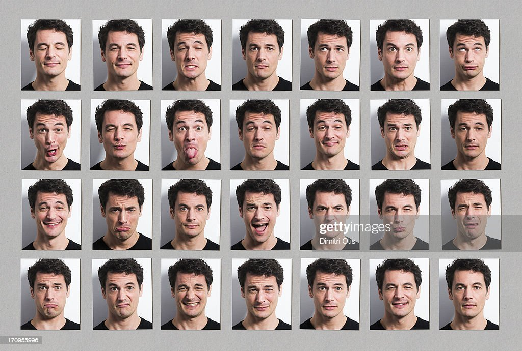 Multiple portraits of mans face, many expressions