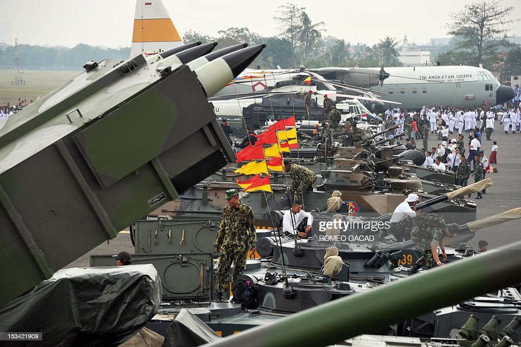 A multiple rocket launcher system is seen displayed together with military armored vehicles and aircrafts as President Susilo Bambang Yudhoyono leads celebrations marking the 67th anniversary of the Indonesian armed forces at Halim Perdana Kusumah airport in Jakarta on October 5, 2012.