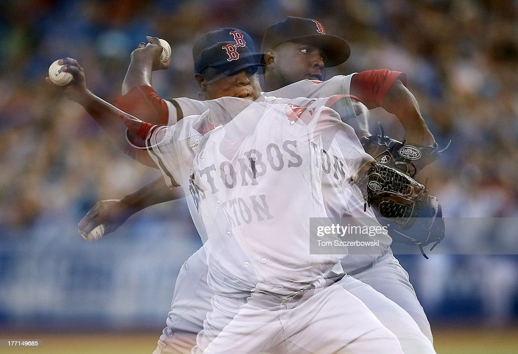 A multiple-exposure sequence of Rubby De La Rosa #62 of the Boston Red Sox as he delivers a pitch during MLB game action against the Toronto Blue Jays on August 15, 2013 at Rogers Centre in Toronto, Ontario, Canada.