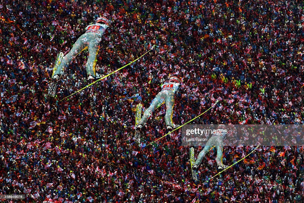 A multiple-exposure sequence of Severin Freund of Germany is seen during the first round for the FIS Ski Jumping World Cup event of the 61st Four Hills ski jumping tournament at Bergisel-Stadion on January 4, 2013 in Innsbruck, Austria.