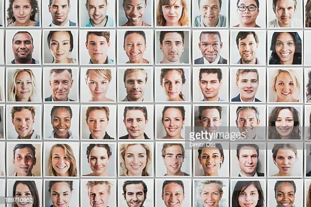 Multi-racial grid of portrait prints, all ages