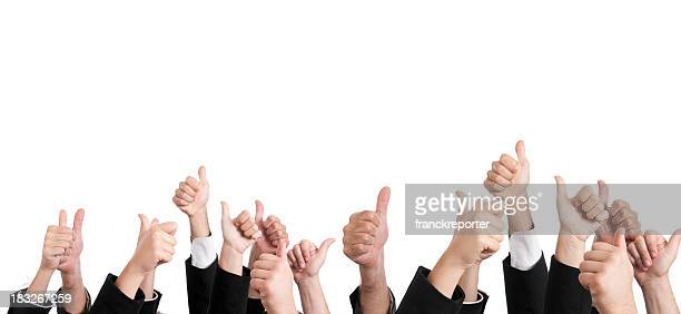 multiracial thumbs up large group of people