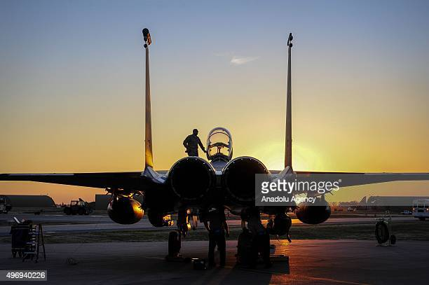 F15E multirole fighters arrive at the Incirlik Air Base in Adana Turkey on November 13 2015 United States Department of Defense deployed additional...
