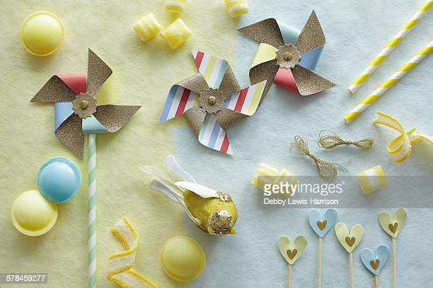 Multi-shaped coloured candies and pinwheels