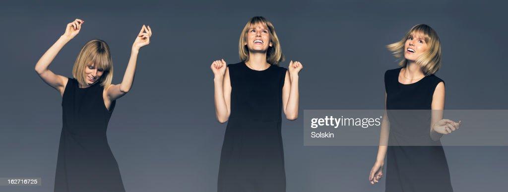Multishot image of young woman dancing