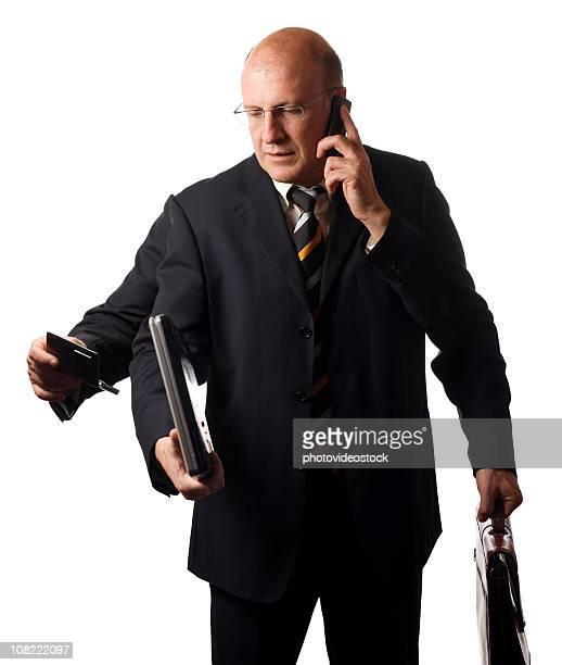 マルチタスクビジネスマン、白で分離