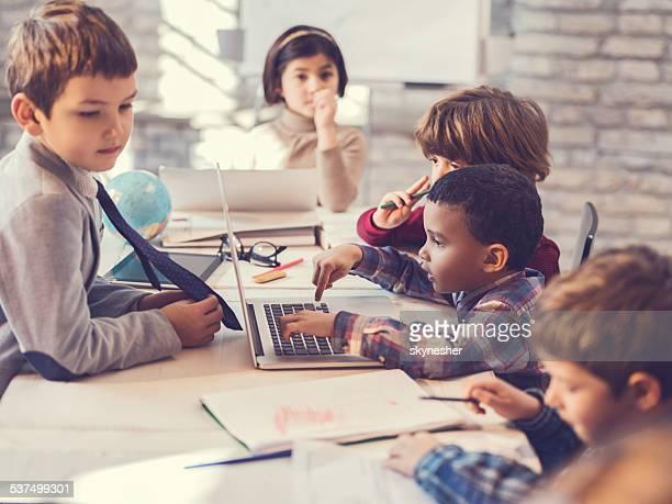 Multi-tasking group of children.
