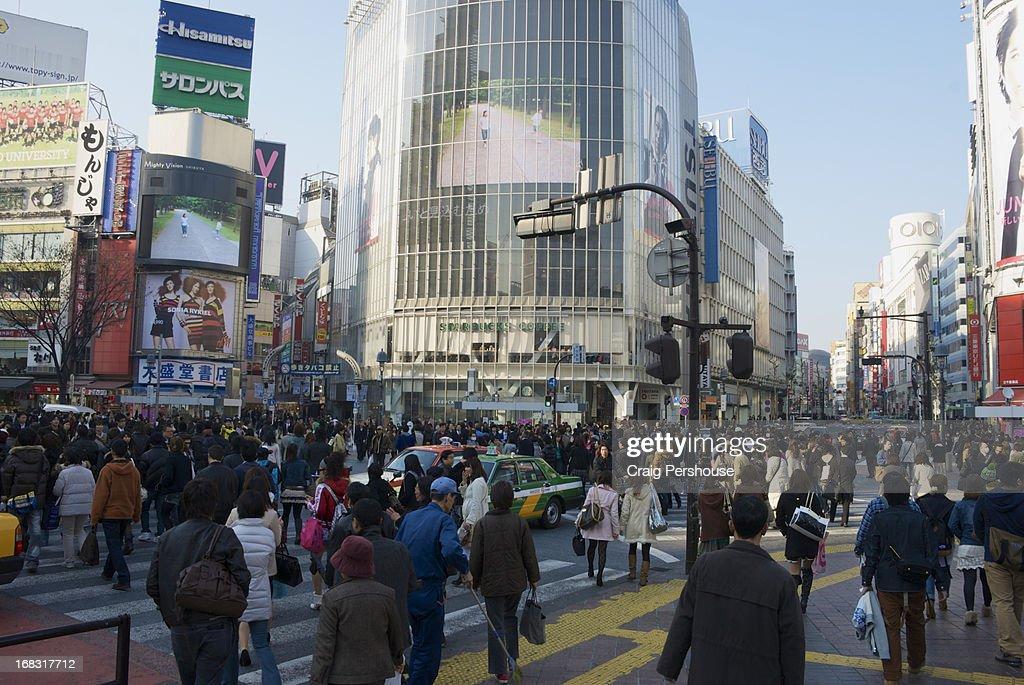 A multitude of pedestrians on Shibuya Crossing
