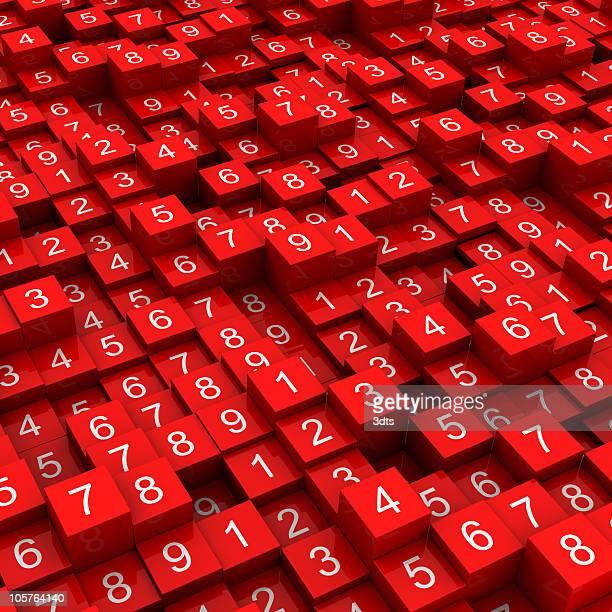Random Zahlen auf rote Häuserblocks