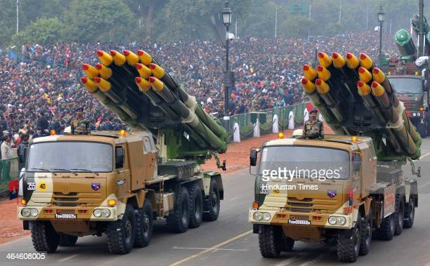 Multy Rocket System of Indian Army passing through the saluting base during the full dress rehearsal for Republic Day Parade at Rajpath on January 23...