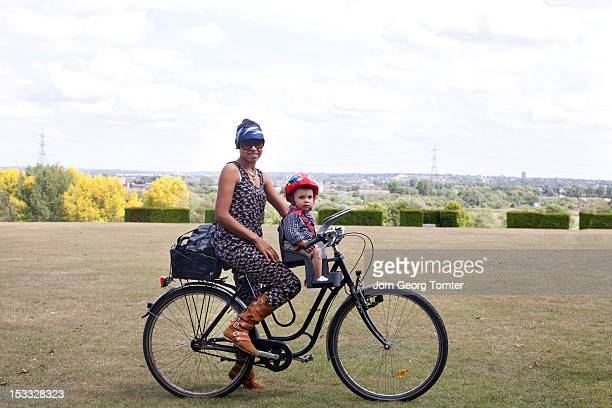 Mum and child on bicycle
