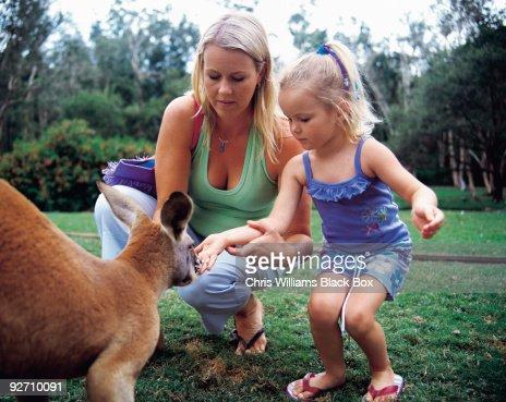 Mum and daughter feeding a kangaroo. : Stock Photo