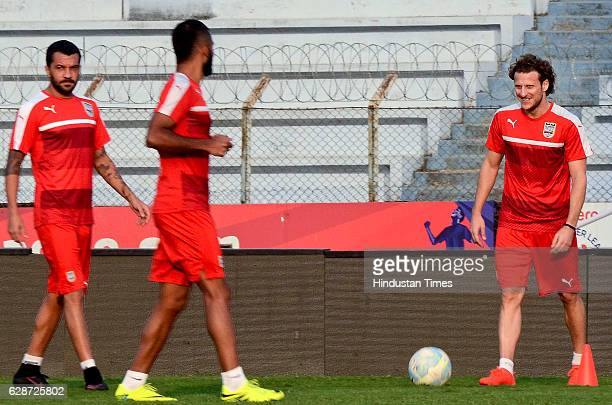 Mumbai City FC player Diego Forlan practice before the Atletico de Kolkata match at Rabindra Sarobar Stadium on December 9 2016 in Kolkata India...