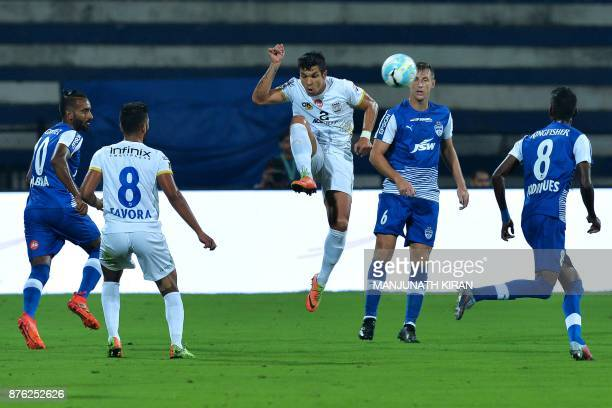 Mumbai City FC player Everton Leandro Dos Santos Pinto controls the bal next to Mumbai City FC players during the Indian Super League football match...