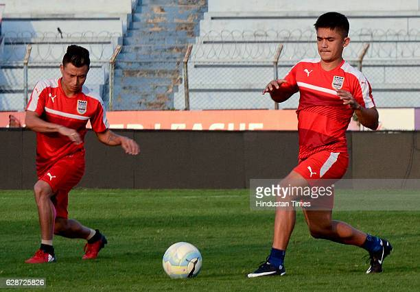 Mumbai City FC player Sunil Chettri practice before the Atletico de Kolkata match at Rabindra Sarobar Stadium on December 9 2016 in Kolkata India...