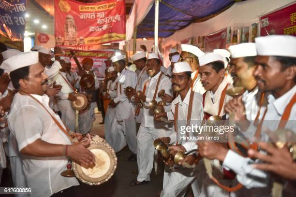 Mumbai Dabbawalas campaigning to raise awareness for voting for the upcoming Municipal Election on 21st February 2017 at Churchgate Station on...