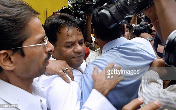 Fugitive gangster Dawood Ibrahim's brother Iqbal Kaskar is mobbed by mediapersons as he leaves the Arthur Road jail in Mumbai 14 June 2007 Kaskar was...