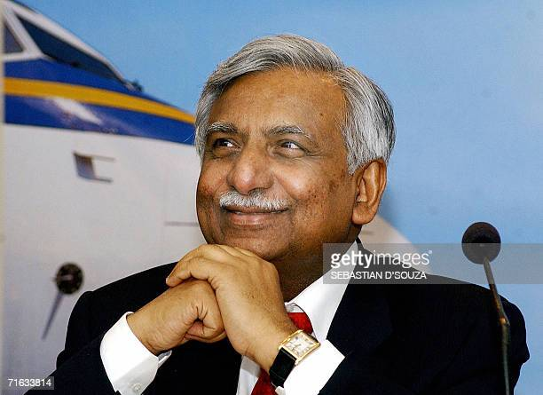 In this picture taken 11 February 2005 Chairman of Indian airline Jet Airways Naresh Goyal listens to questions at the announcement of an Initial...