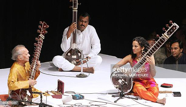 Indian sitar maestro Pandit Ravi Shankar and his daughter Anoushka at a live performance in Mumbai 11 February 2006 Ravi Shankar performed together...