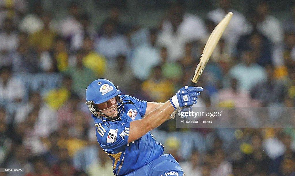 Mumbai Indian batsman Richard Levi plays a shot during inaugural cricket match of Indian Premier League 2012 played between Mumbai Indians And Chennai Super Kings on April 4, 2012 in Chennai, India.