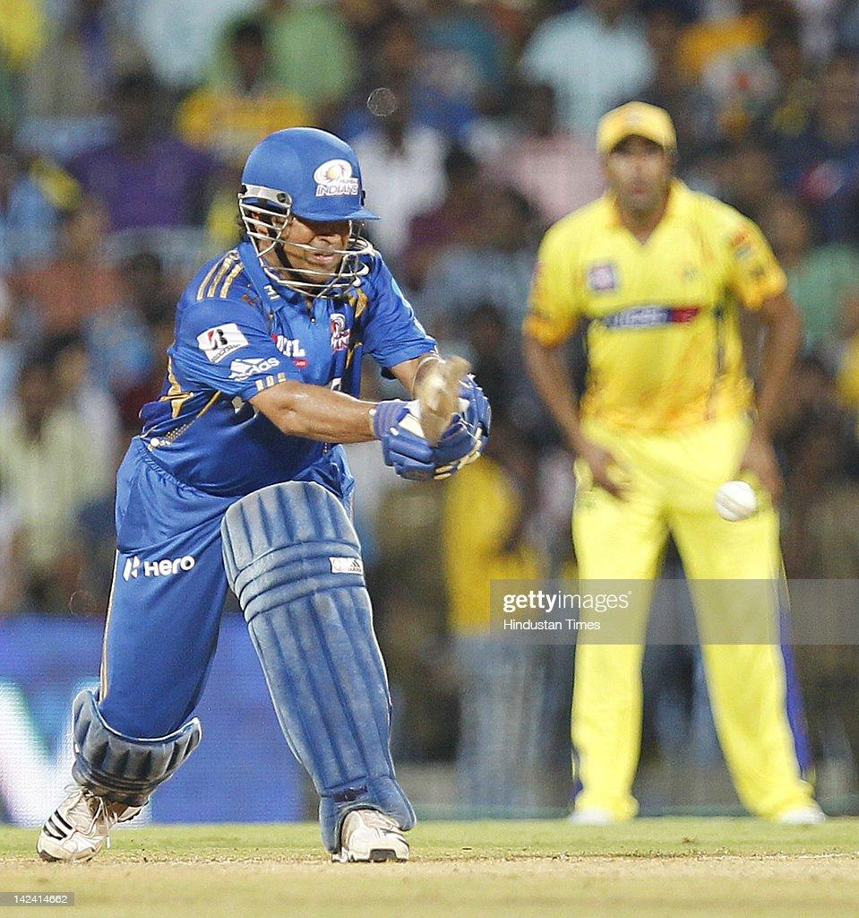 Mumbai Indian batsman SachinTendulkar plays a shot during inaugural cricket match of Indian Premier League 2012 played between Mumbai Indians And Chennai Super Kings on April 4, 2012 in Chennai, India.