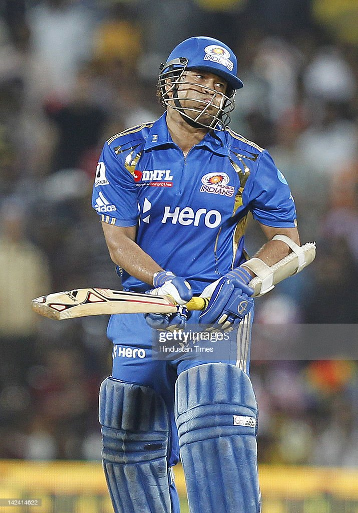 Mumbai Indian batsman SachinTendulkar reacts after leaving the ball during inaugural cricket match of Indian Premier League 2012 played between Mumbai Indians And Chennai Super Kings on April 4, 2012 in Chennai, India.