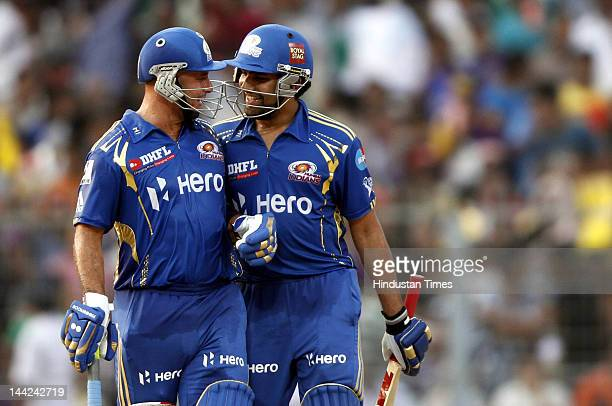 Mumbai Indian Player Rohit Sharma and Herschelle Gibbs in action during the match between Kolkata Knight Rides and Mumbai Indians at Eden Gardens on...