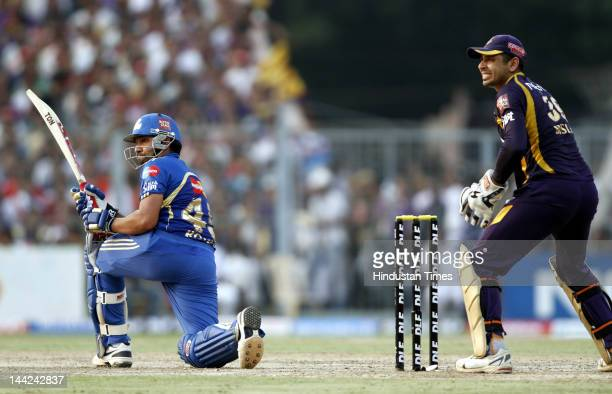Mumbai Indian player Rohit Sharma in action during the match between Kolkata Knight Rides and Mumbai Indians at Eden Gardens on May 12 2012 in...