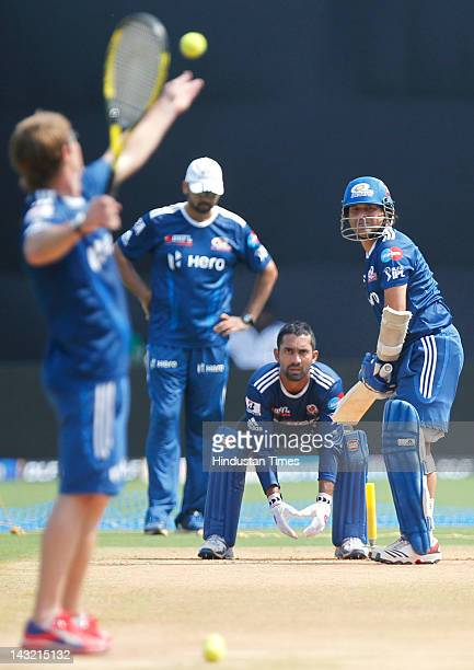 Mumbai Indian player Sachin Tendulkar doing batting practice with tennis ball during practice session at Wankhede Stadium on April 21 2012 in Mumbai...