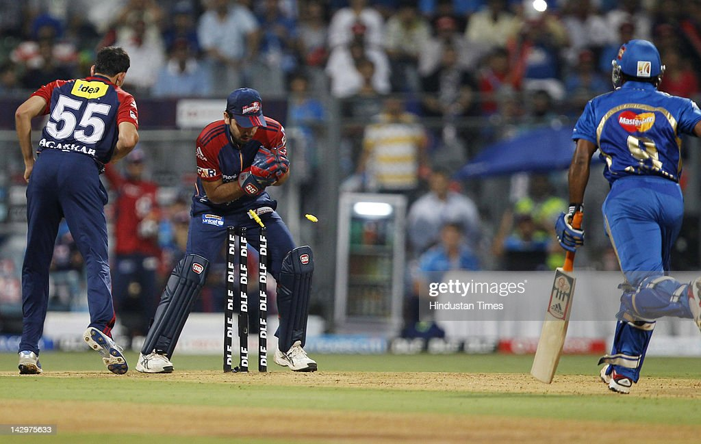 Mumbai Indians batsman Ambatti Rayudu (R) being runout during the IPL T20 match between Mumbai Indians vs Delhi Daredevils at Wankhede Stadium on April 16, 2012 in Mumbai, India. Batting first after losing the toss Mumbai Indians posted a target of 93 to win for Delhi Daredevils.