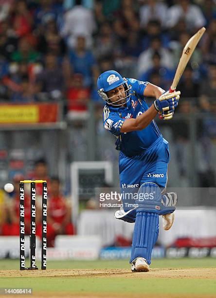 Mumbai Indians batsman Rohit Sharma plays a shot during IPL T20 match palyed between Mumbai Indian and Royal Challengers Bangalore at wankhede...