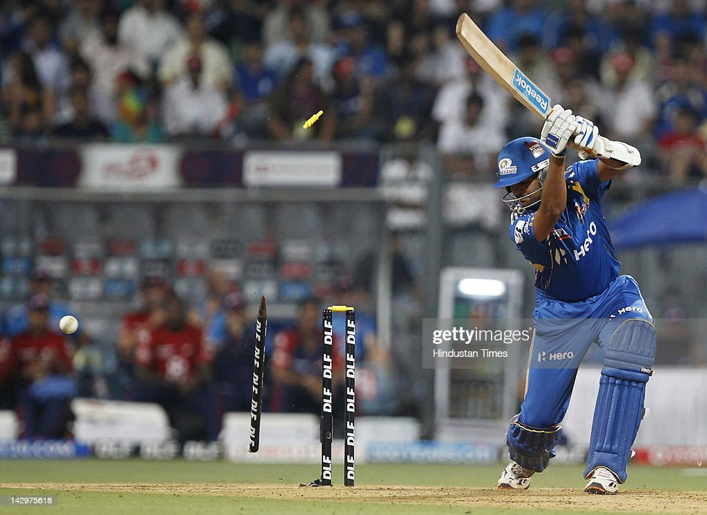 Mumbai Indians batsman <a gi-track='captionPersonalityLinkClicked' href=/galleries/search?phrase=Rudra+Pratap+Singh&family=editorial&specificpeople=686502 ng-click='$event.stopPropagation()'>Rudra Pratap Singh</a> clean bold by Morne Morkel (not pictured) during the IPL T20 match between Mumbai Indians vs Delhi Daredevils at Wankhede Stadium on April 16, 2012 in Mumbai, India. Batting first after losing the toss Mumbai Indians posted a target of 93 to win for Delhi Daredevils.