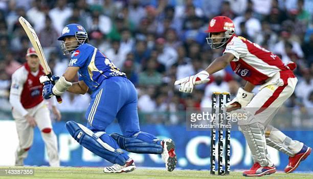 Mumbai Indians batsman Sachin Tendulkar plays a shot during IPL 5 T20 Cricket match played between Mumbai Indians and Kings XI Punjab at PCA stadium...