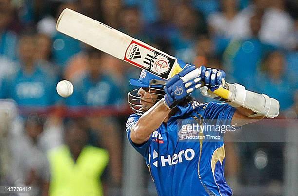 Mumbai Indians batsman Sachin Tendulkar plays a shot during the Indian Premier League T20 cricket match played between Mumbai Indians and Pune...