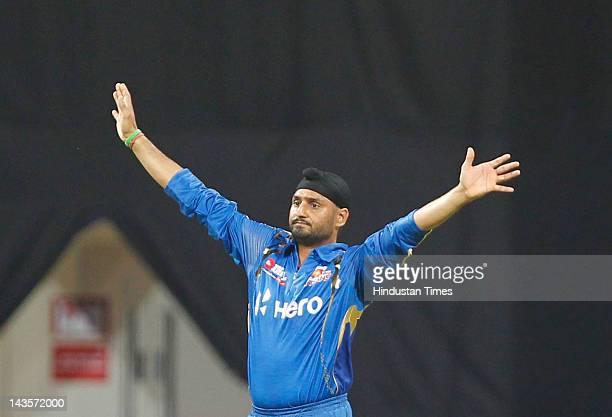 Mumbai Indians captain Harbhajan Singh during IPL 5 T20 cricket match played between Mumbai Indians And Deccan Chargers at Wankhede stadium on April...