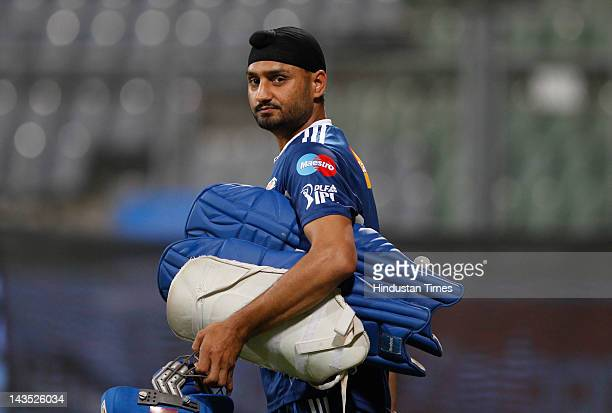 Mumbai Indians captain Harbhajan Singh during the practice session at Wankhede Stadium on April 28 2012 in Mumbai India