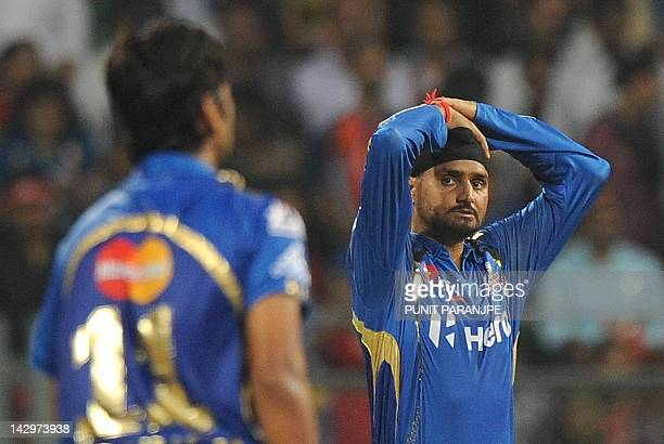 Mumbai Indians captain Harbhajan Singh reacts during the IPL Twenty20 cricket match between Mumbai Indians and Delhi Daredevils at the Wankhede...