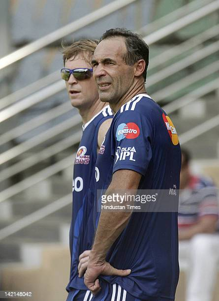 Mumbai Indians fielding coach Jonty Rhodes and Mumbai Indians mentor Mike Horn look on during a practice session at Wankhede stadium on March 30 2012...