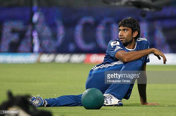 Mumbai Indians player Munaf Patel during the practice session at Wankhede Stadium on April 28 2012 in Mumbai India