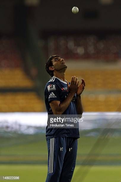 Mumbai Indians player Munaf Patel during the team practice session at M Chinnaswamy stadium on May 22 2012 in Bangalore India Chennai Super Kings...