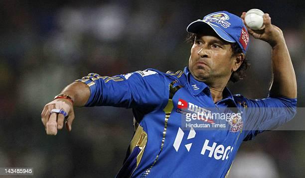 Mumbai Indians player Sachin Tendulkar fielding during IPL 5 T20 cricket match played between Delhi Daredevils and Mumbai Indians at Ferozshah Kotla...