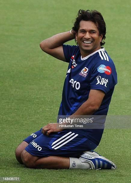 Mumbai Indians Sachin Tendulkar during the practice at Ferozshah Kotla ground on April 26 2012 in New Delhi India According to reports President...