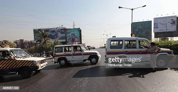 Mumbai Police blocked Highway before detaining MNS Chief Raj Thackeray on Chunabhatti Bridge before Rasta Roko on February 12 2014 in Mumbai India...