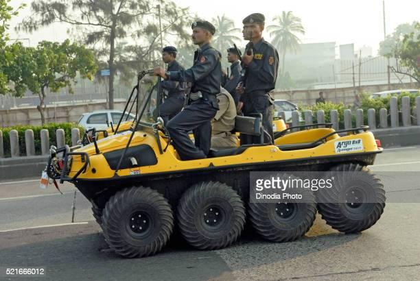 Mumbai police commandos in eight wheel amphibious vehicle at marine drive, Bombay, Mumbai, Maharashtra, India
