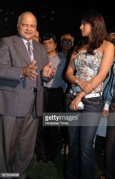 Mumbai Police Commissioner DN Jadhav in conversation with actress Priyanka Chopra at an informal meeting held with the DN Nagar Oshiwara Versova...