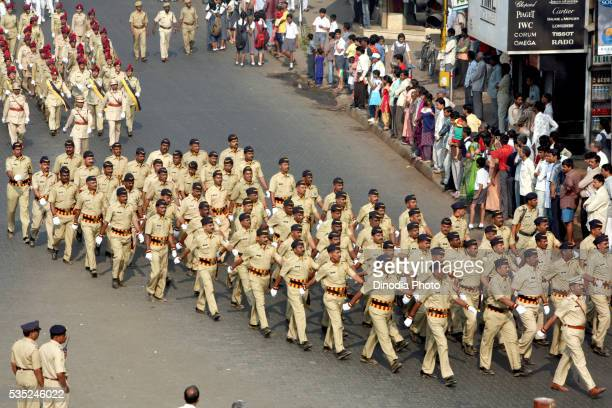Mumbai police force marching on the streets during the country's 58th Republic Day in Mumbai, Maharashtra, India.