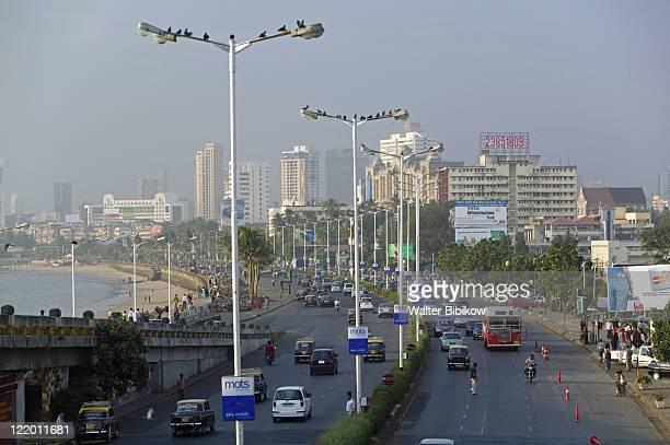Mumbai, Traffic Marine Drive, Chowpatty Beach