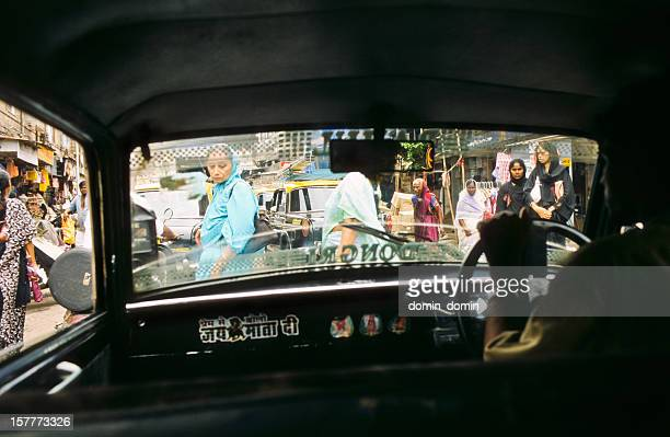 Mumbai, view from the taxi cab on the streets